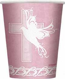 Dove Cross Christening Communion Girl Pink Party Cups 8pk