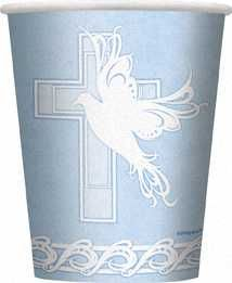 Dove Cross Christening Communion Boy Blue Party Cups 8pk