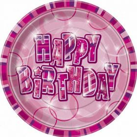 Pink Glitz Happy Birthday Paper Party Plates 8pk