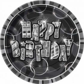 Black Glitz Happy Birthday Paper Party Plates 8pk