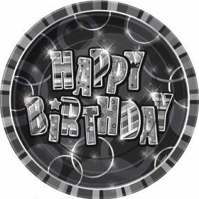 Black Glitz Happy Birthday Paper Party Plates 8pk