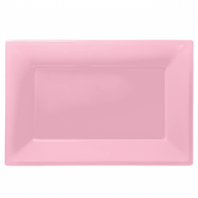 Baby Pink Plastic Serving Trays, 3pk