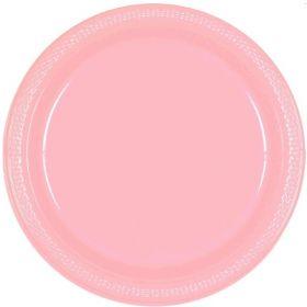 Baby Pink Plastic Plates 23cm, pk20