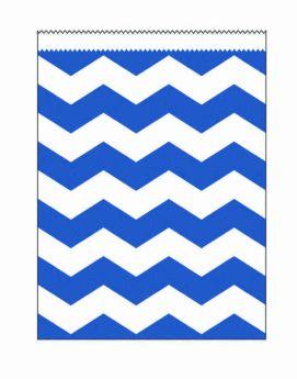 True Blue Chevron Stripe Paper Treat Bags pk10