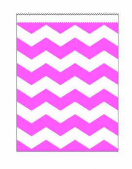 Candy Pink Chevron Stripe Paper Treat Bags pk10