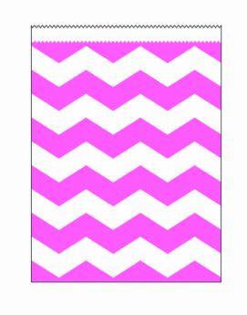 Candy Pink Chevron Stripe Paper Treat Bags pk10