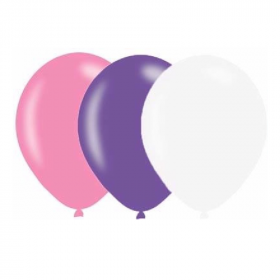 """Pink, Lilac & White Pearlised Latex Balloons 11"""", pk10"""