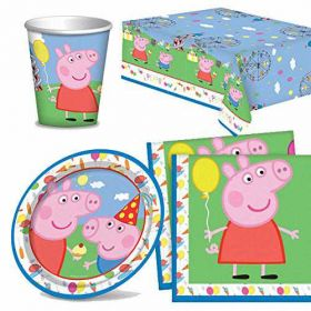 Peppa Pig Party Tableware Pack For 8 including tableware and 8 filled party bags