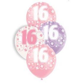 Pink Age 16 Latex Balloons