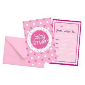 Pink Baby Shower Invitations, pk8