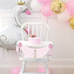 Ballerina Pink & Gold 1st Birthday Party High Chair Decorating Kit