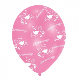 Christening Pink Latex Balloons 11""
