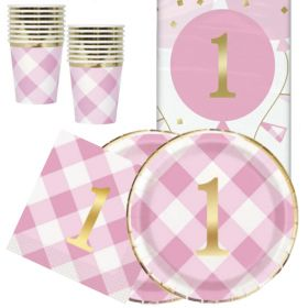 Pink Gingham 1st Birthday Party Tableware Pack for 16