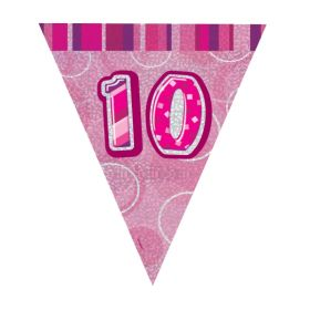 Pink Glitz Age 10 Party Flag Banner 2.8m