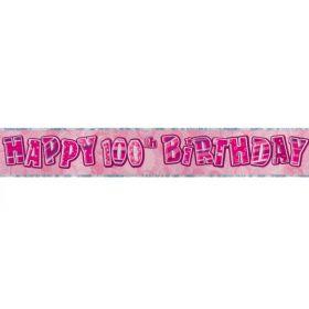 Pink Glitz Age 100 Prismatic Foil Banner 3.6m