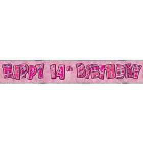 Pink Age 14 Party Banners