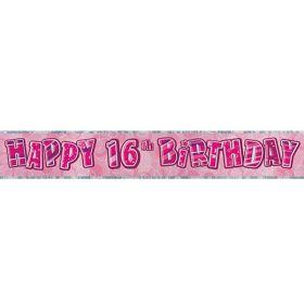Pink Glitz 16 Prismatic 9ft Party Banner