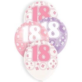Pink Glitz 18 All Over Print Party Balloons, pk6