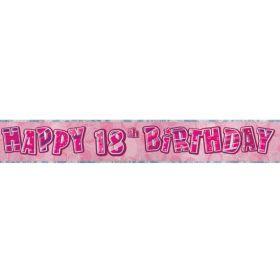 Pink Glitz Age 18 Prismatic Foil Banner 2.8m