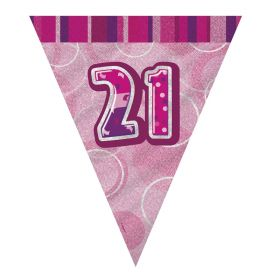 Pink Glitz Age 21 Party Flag Banner 2.8m