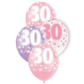 Pink Age 30 Latex Balloons