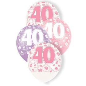 Pink Glitz 40 All Over Print Party Balloons, pk6