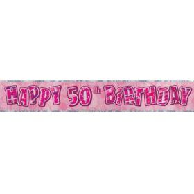 Pink Glitz Age 50 Prismatic Foil Banner 2.8m