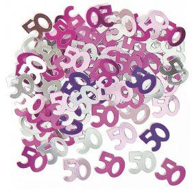 Age 50 Pink Confetti