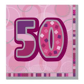 Pink Glitz Age 50 Party Napkins