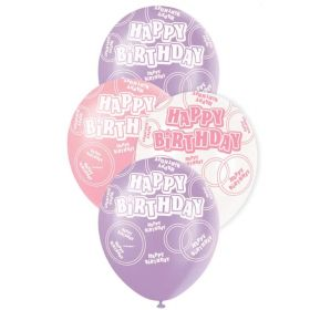 Pink Glitz Happy Birthday All Over Print Party Balloons, pk6