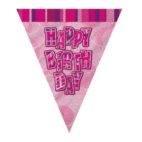 Pink Glitz Happy Birthday Party Flag Banner 2.8m