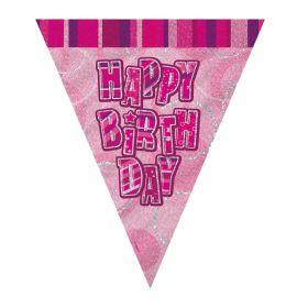 Pink Glitz Happy Birthday Party Flag Banner 2.8m