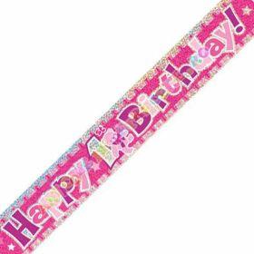 Happy 1st Birthday Pink Prismatic Banner