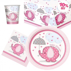 Umbrellaphants Pink Baby Shower Tableware Pack