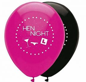 Pink & Black Hen Night Latex Balloons pk6