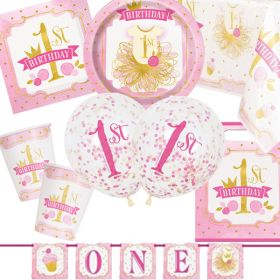 Pink & Gold 1st Birthday Ultimate Party Kit for 8