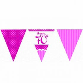 Perfectly Pink Paper Flag Bunting 70th Birthday