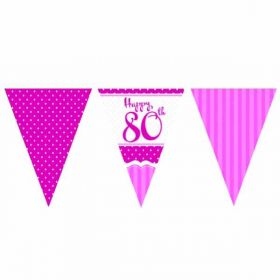 Perfectly Pink Paper Flag Bunting 80th Birthday