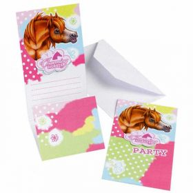 Pink Charming Horse Party Invitations, pk6