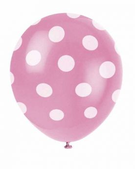 Hot Pink Polka Dot Party Balloons 6pk