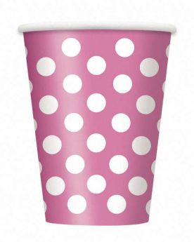 Hot Pink Polka Dot Party Paper Cups 6pk