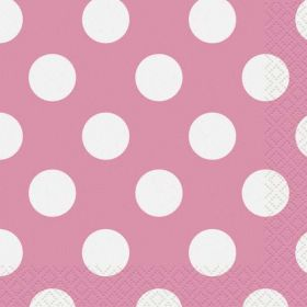 Hot Pink Polka Dot Party Napkins 16pk