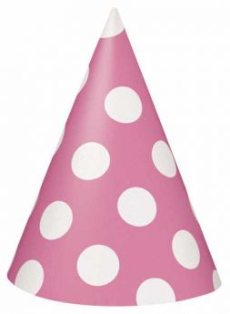 Hot Pink Polka Dot Party Hats 8pk