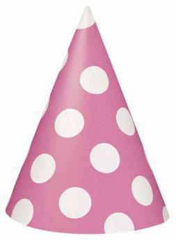 Hot Pink Polka Dot Party Hats 8pk