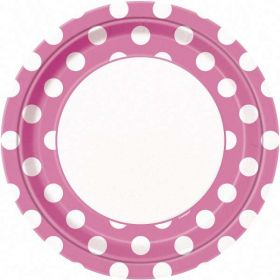 "Hot Pink Polka Dot 9"" Party Paper Plates 8pk"