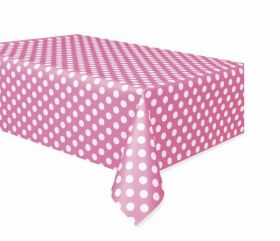 Hot Pink Polka Dot Party Tablecover