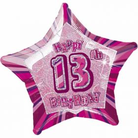 Age 13 Pink Glitz Happy Birthday Foil Balloon