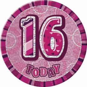 Pink Glitz Large 16th Badge
