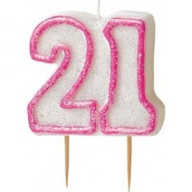 Pink Glitz 21 Party Candle