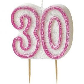 Pink Glitz 30 Party Candle